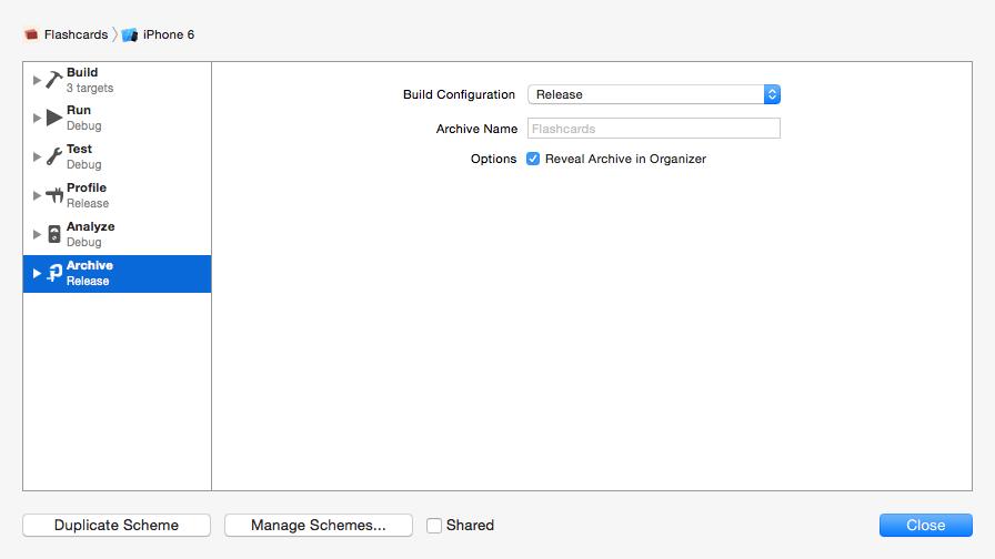 Build Scheme Release