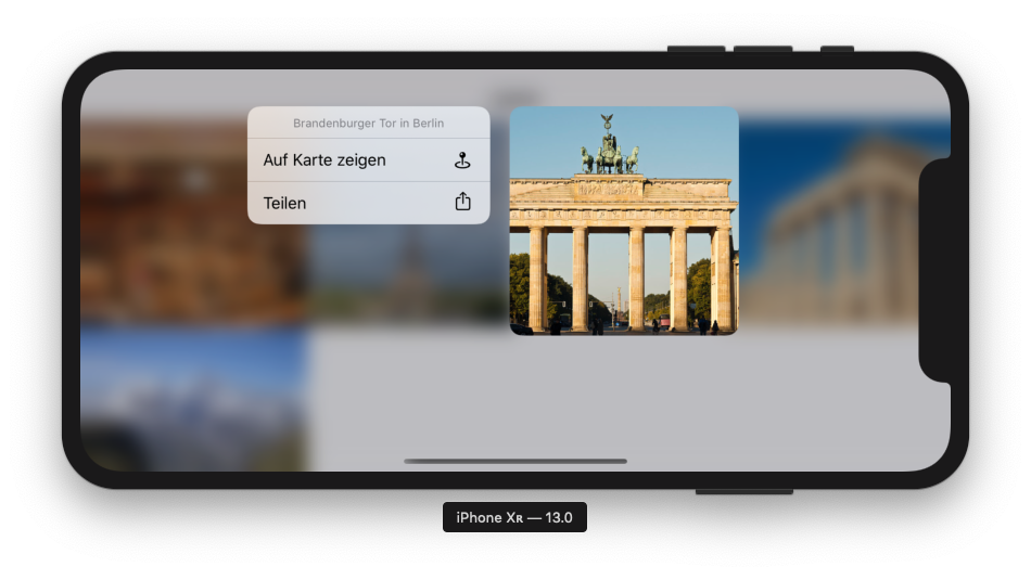 Beispiel-App Kontextmenü