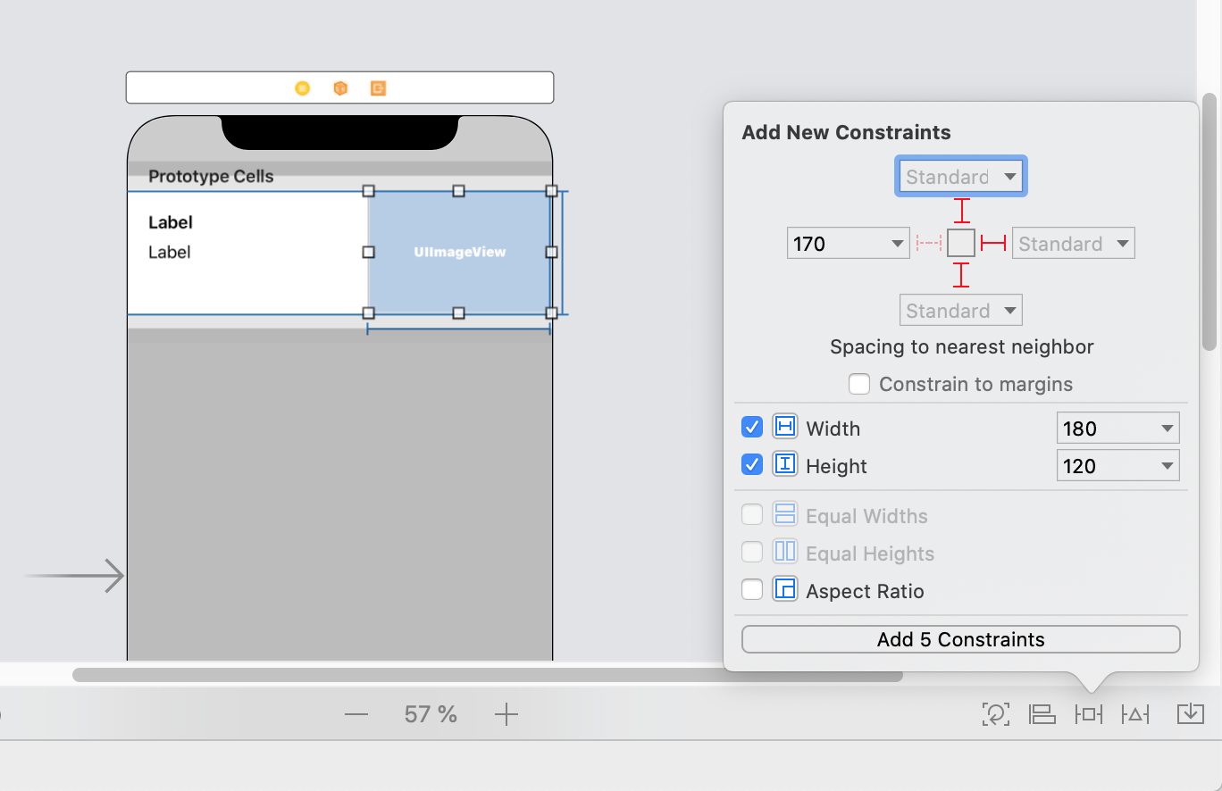 Custom Cell Image Add New Constraints
