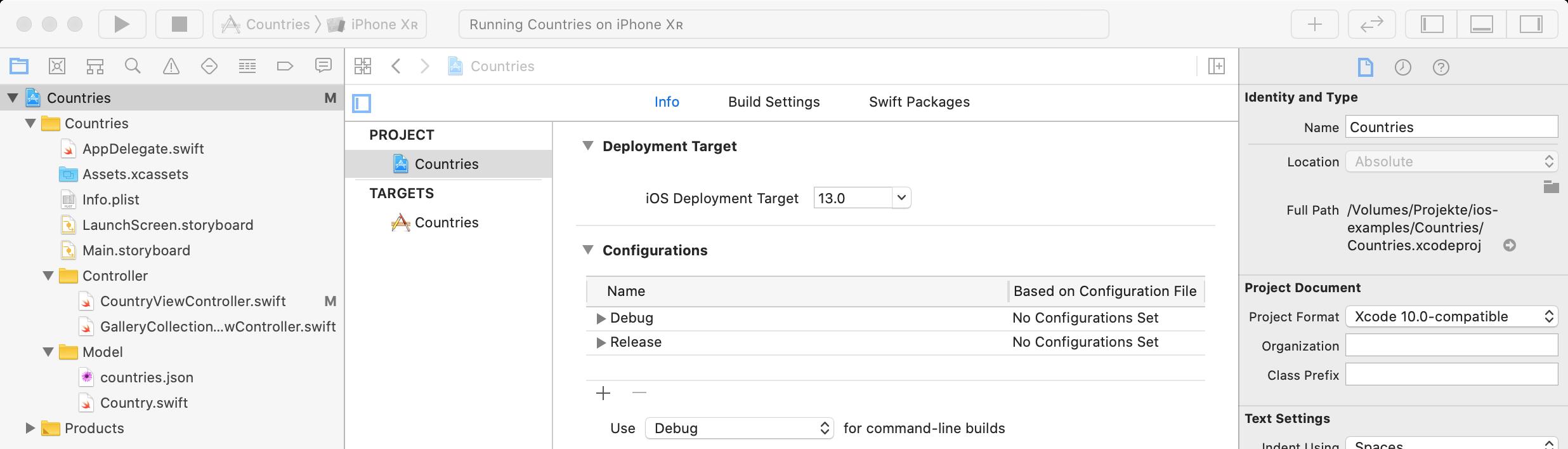Deployment Target auf iOS 13 konfigurieren