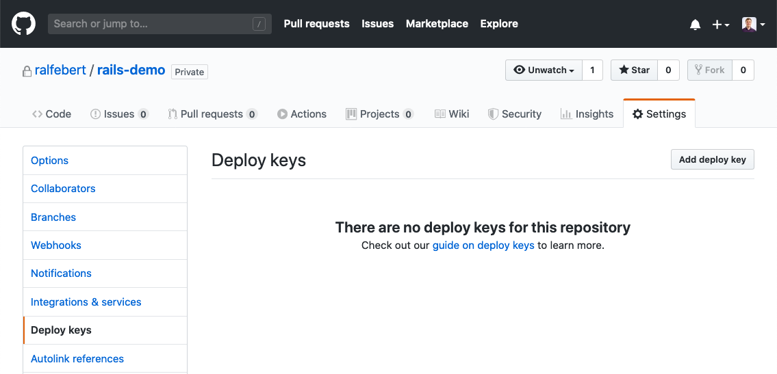 Add the deployment key to the repository
