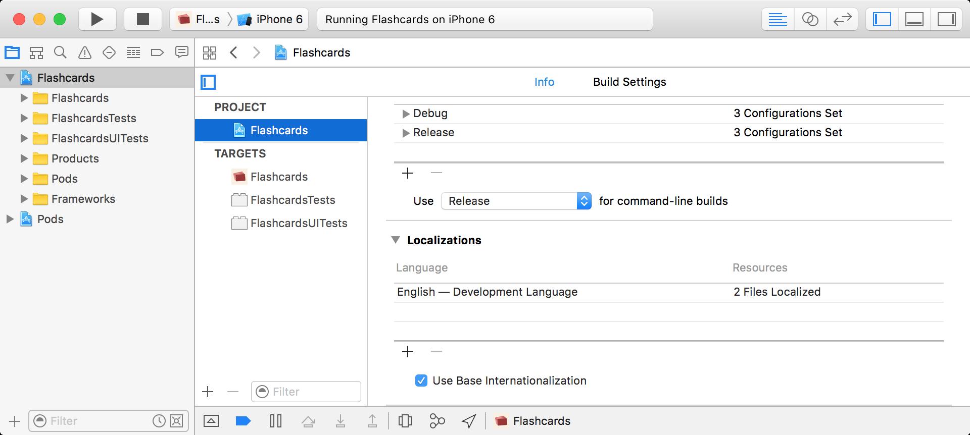 Xcode Projekt: Development Language