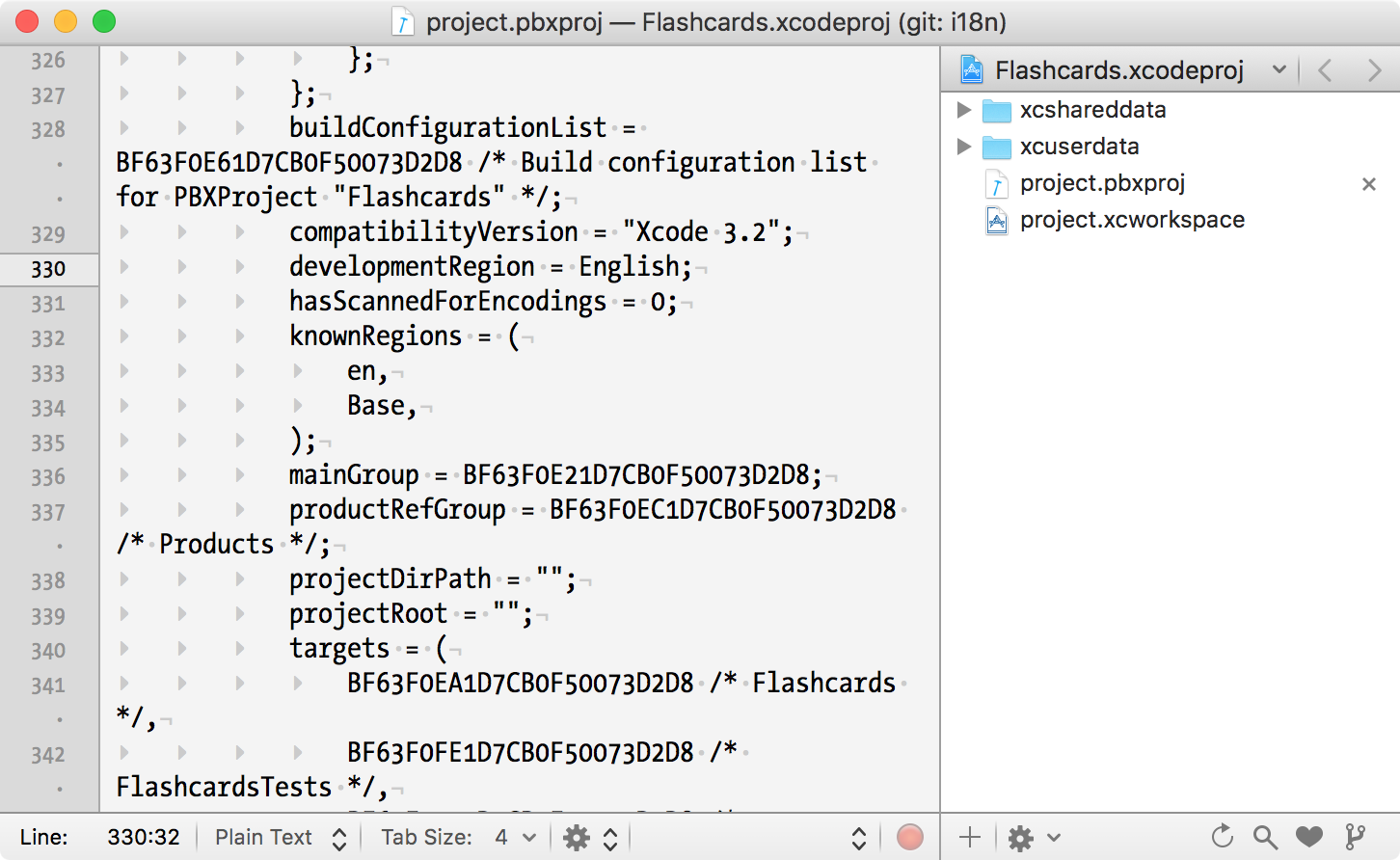 Development Region in Xcode pbxproj