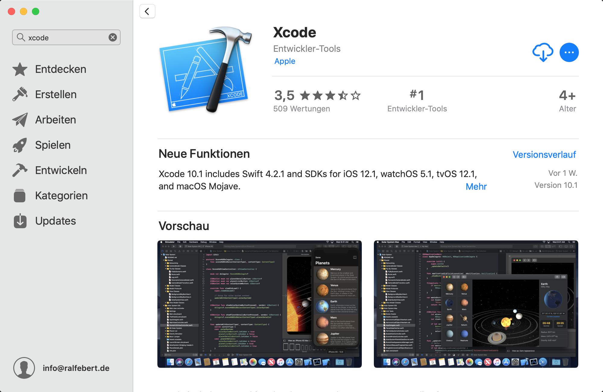 Installation Xcode über den Mac App Store