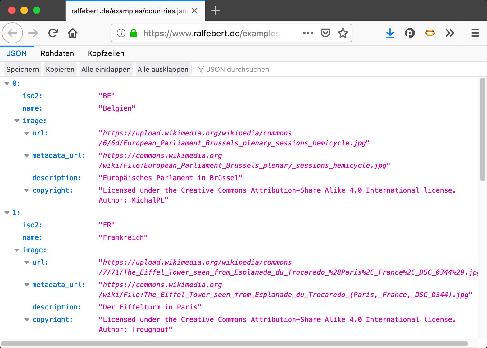 Anzeige der JSON-Beispieldaten im Browser