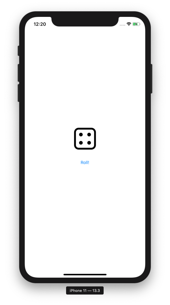 Dice app in simulator