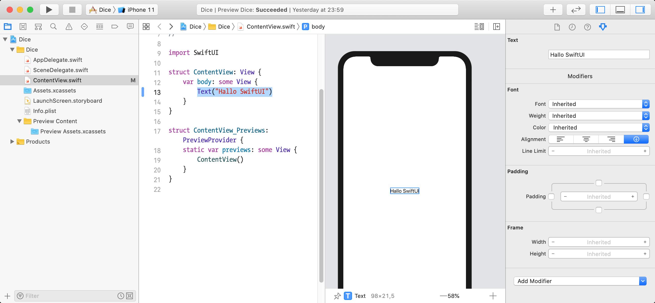 SwiftUI-Attribute über Attributes-Inspektor berarbeiten