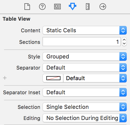 Table View: Static Cells + Style Grouped