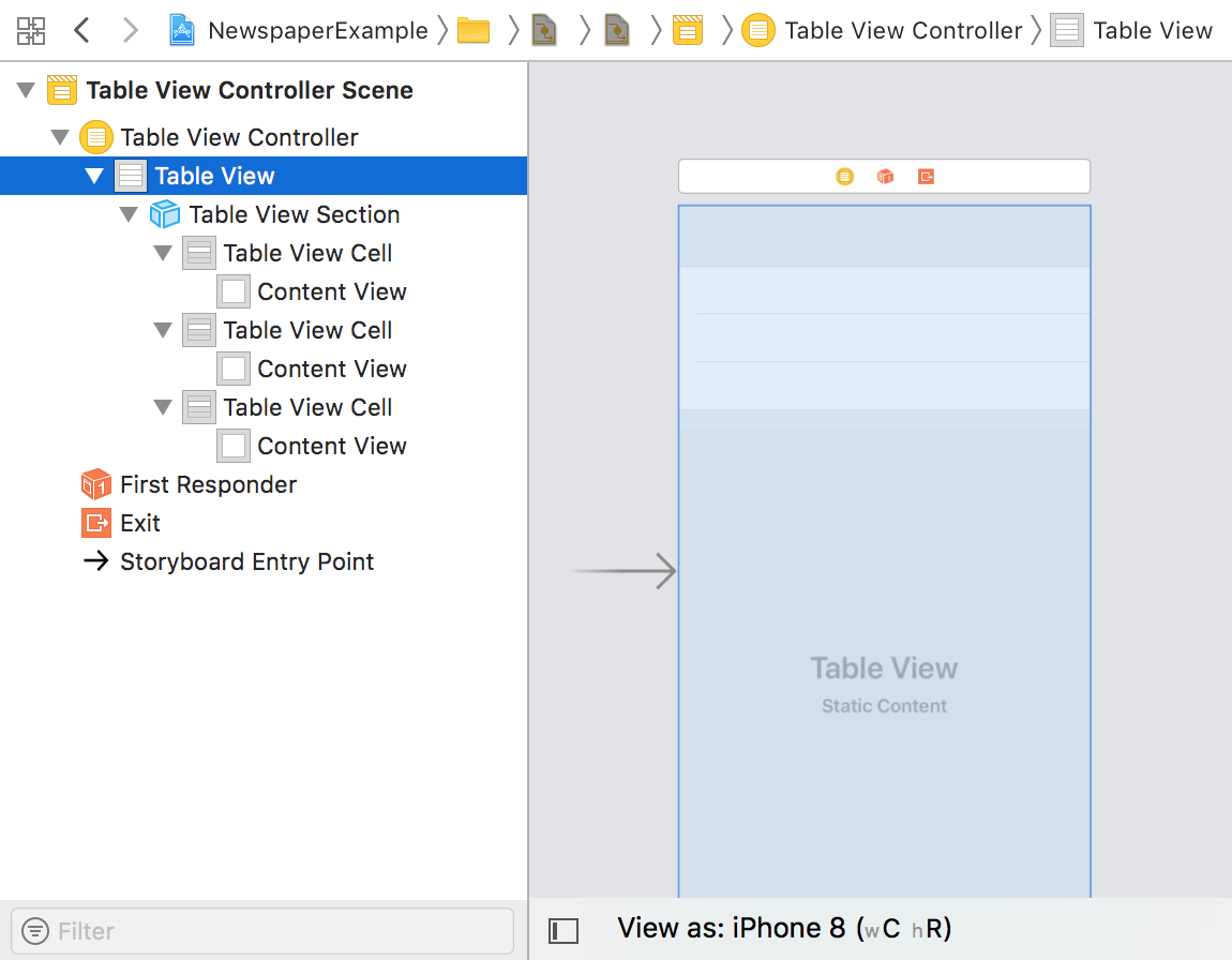 Outline View for Table View Controller