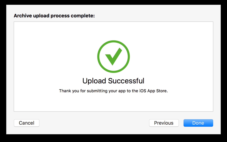 Xcode: Upload Successful