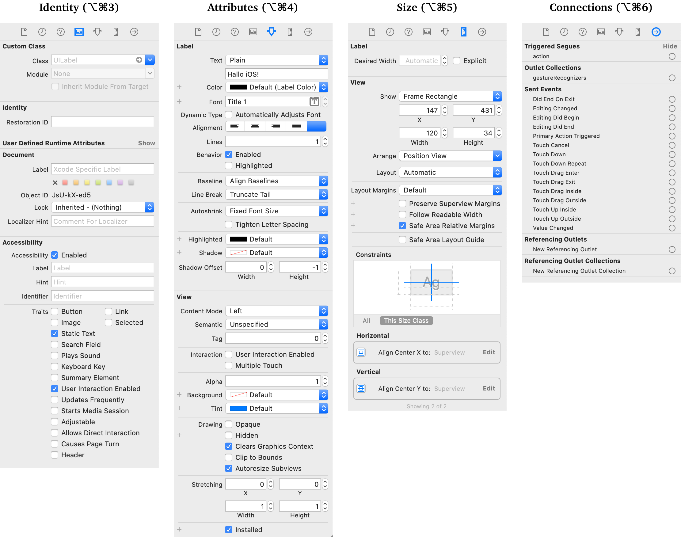 Storyboard: Inspector-Paletten Identity, Attributes, Size, Connections