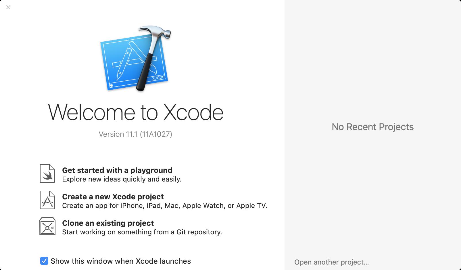 Xcode Version im Willkommensbildschirm