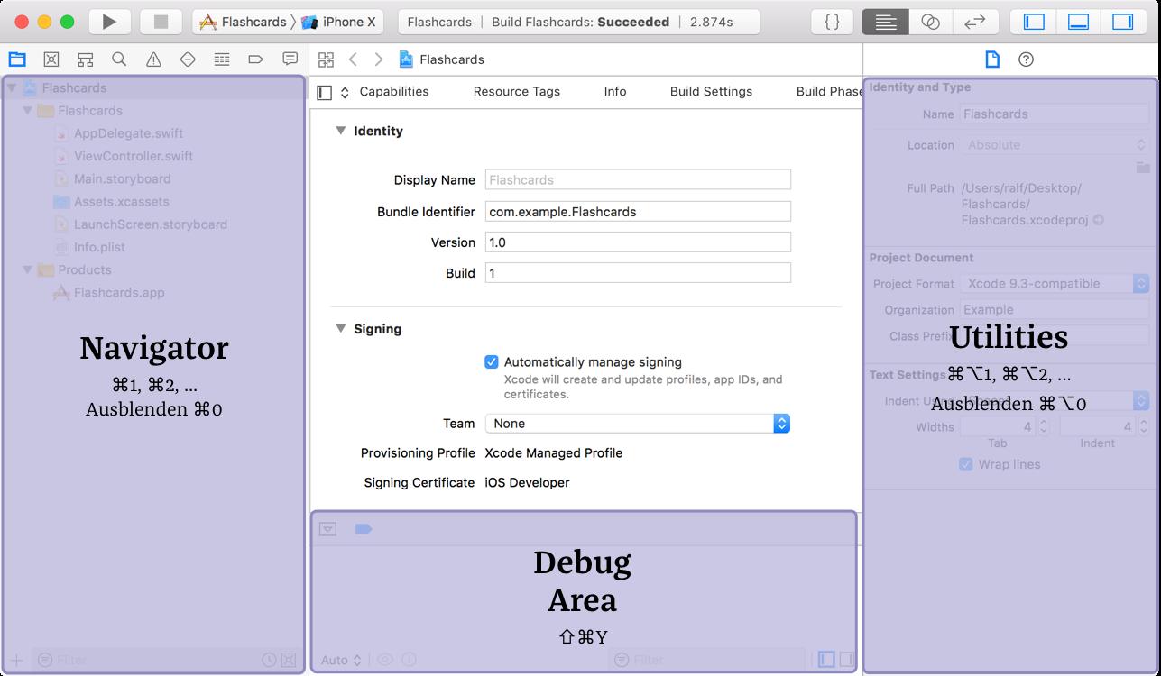 Xcode: Navigator, Debug Area, Utilities